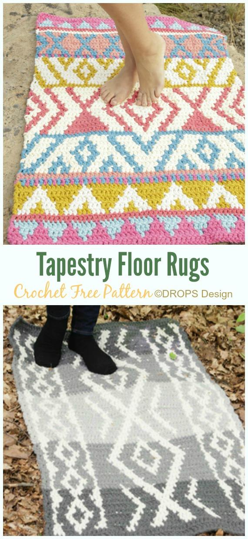 Tapestry Floor Rug Crochet Free Pattern - Bath Rug & Bathmat Free #Crochet; Patterns