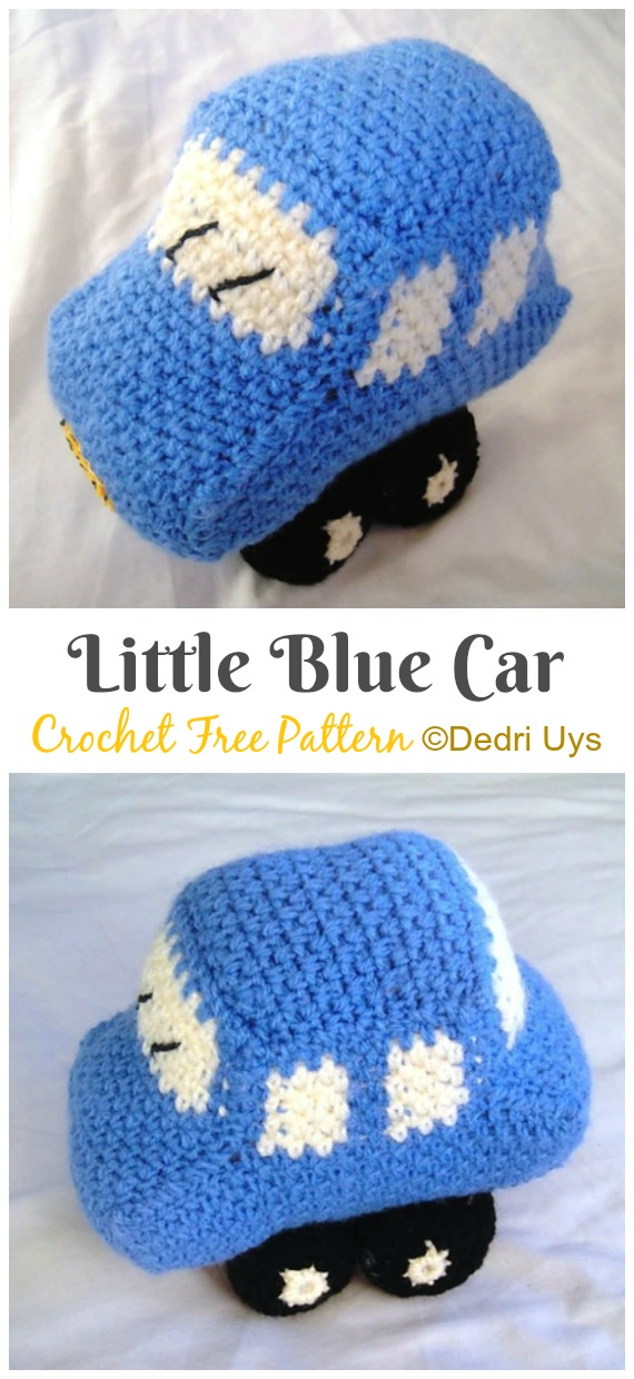 Amigurumi Little Blue Car Crochet Free Pattern - Crochet #Car; #Amigurumi Free Patterns