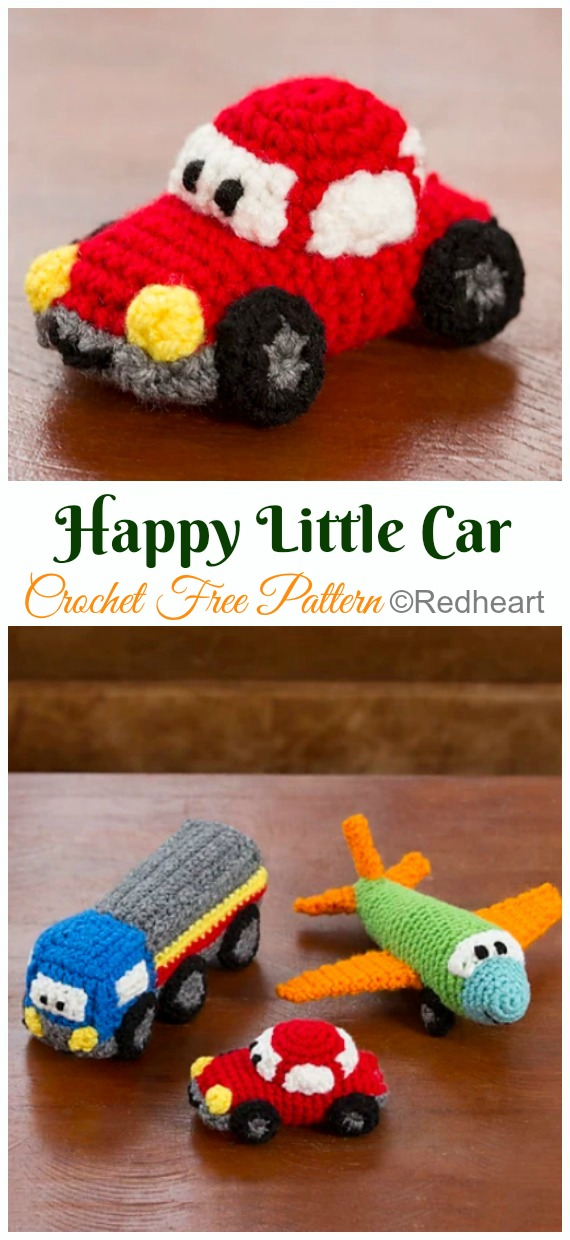 Amigurumi Happy Little Car, Plane, & Truck Crochet Free Pattern - Crochet #Car; #Amigurumi Free Patterns