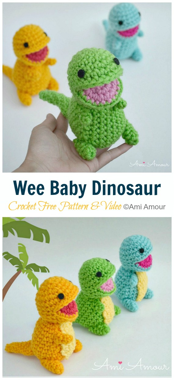 Crochet Wee Baby Dinosaur Amigurumi Free Pattern&Video - #Amigurumi; #Dinosaur; Free Crochet Patterns