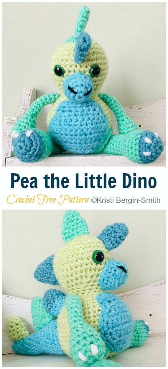 Crochet Pea the Little Dino Amigurumi Free Pattern&Video - #Amigurumi; #Dinosaur; Free Crochet Patterns