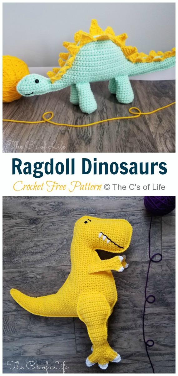 Crochet Ragdoll Dinosaur Amigurumi Free Pattern - #Amigurumi; #Dinosaur; Free Crochet Patterns