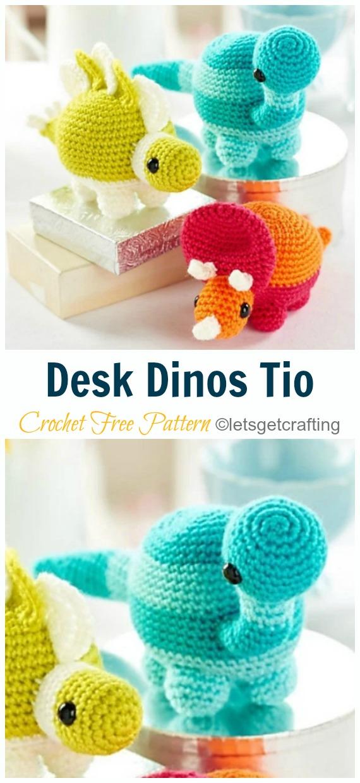 Crochet Desk Dino Trio Amigurumi Free Pattern- #Amigurumi; #Dinosaur; Free Crochet Patterns