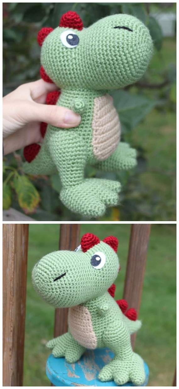 Dinosaur Amigurumi Tutorial | Free Crochet Pattern | Open Mouth ... | 1240x570