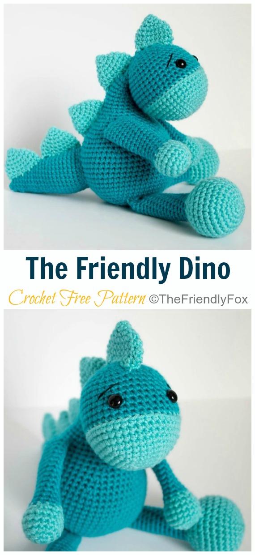 Crochet The Friendly Dino Amigurumi Free Pattern- #Amigurumi; #Dinosaur; Free Crochet Patterns