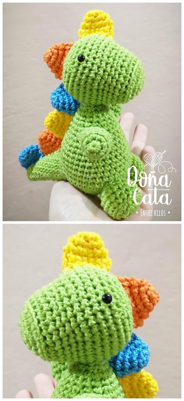 Crochet Green Dino Amigurumi Free Pattern- #Amigurumi; #Dinosaur; Free Crochet Patterns