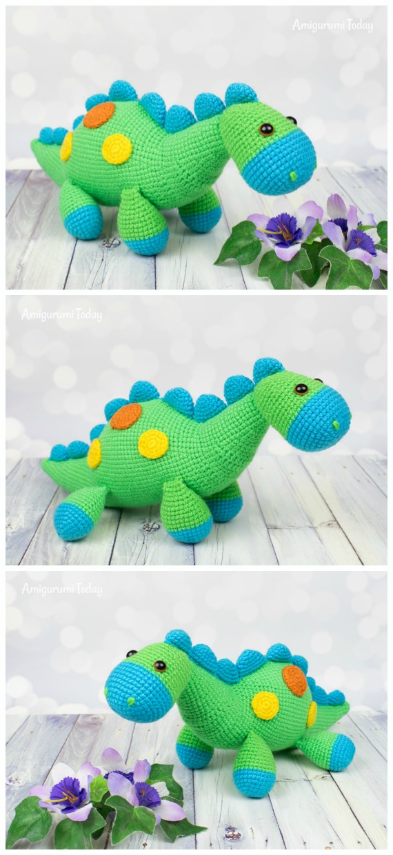 Crochet Bright Dinosaur Amigurumi Free Pattern- #Amigurumi; #Dinosaur; Free Crochet Patterns
