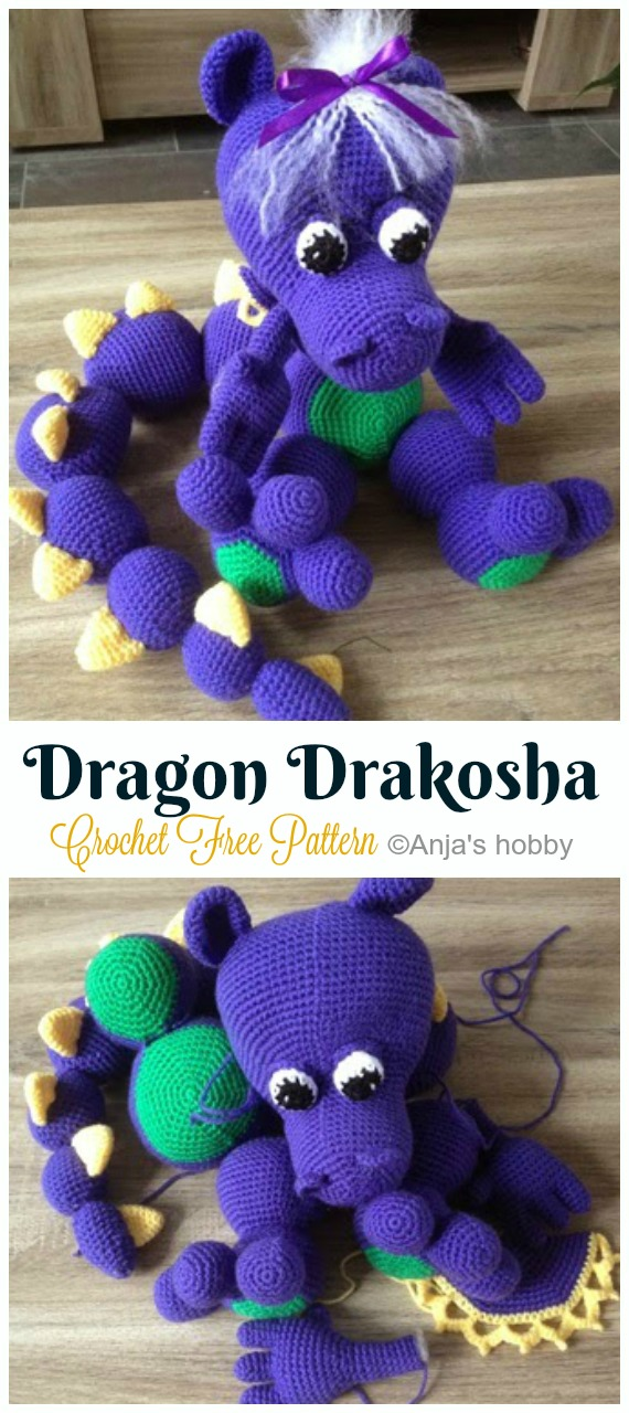Crochet Dragon Drakosha Amigurumi Free Pattern - #Amigurumi; #Dragon; Free Crochet Patterns
