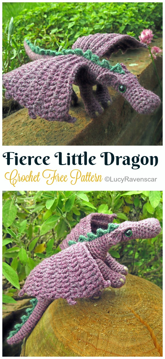 Crochet Fierce Little Dragon Amigurumi Free Pattern - #Amigurumi; #Dragon; Free Crochet Patterns