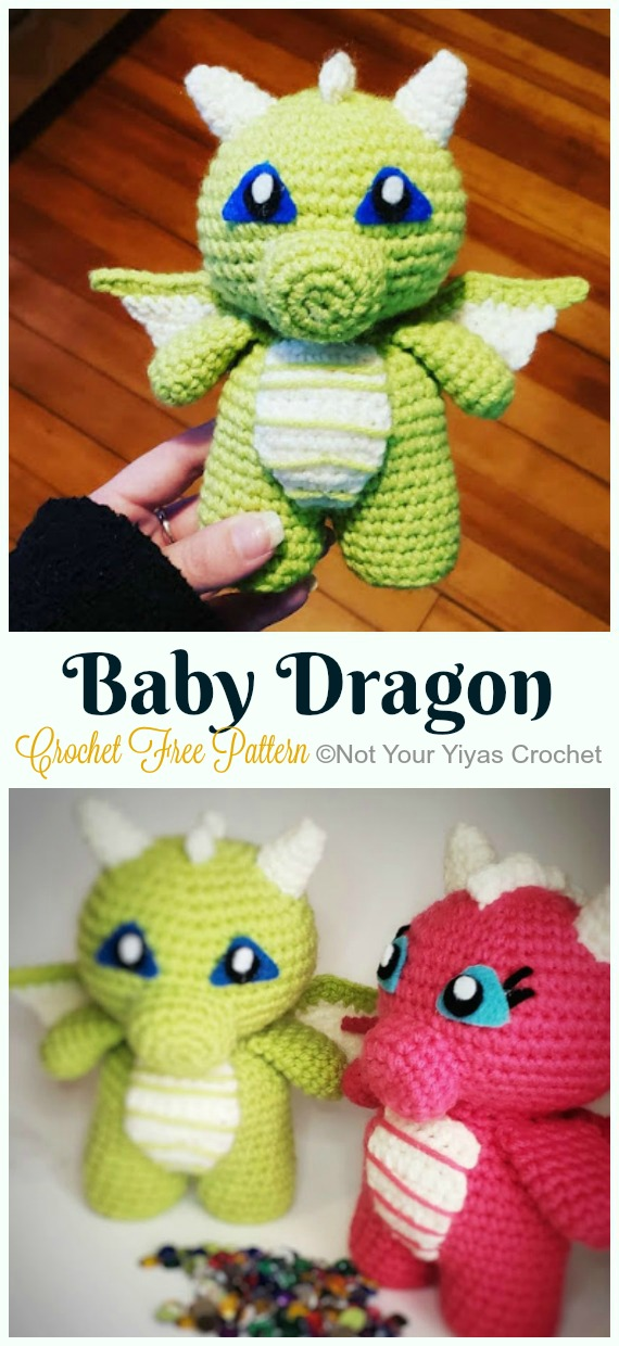 Crochet Baby Dragon Amigurumi Free Pattern - #Amigurumi; #Dragon; Free Crochet Patterns