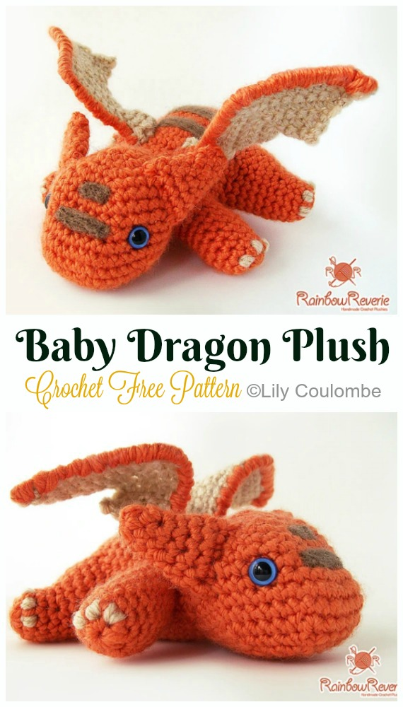 Crochet Baby Dragon Plush Amigurumi Free Pattern - #Amigurumi; #Dragon; Free Crochet Patterns