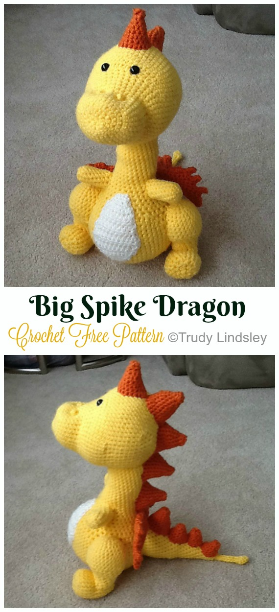 Crochet Big Spike Dragon Amigurumi Free Pattern - #Amigurumi; #Dragon; Free Crochet Patterns