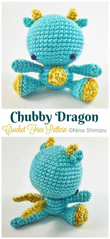 Crochet Chubby Dragon Amigurumi Free Pattern - #Amigurumi; #Dragon; Free Crochet Patterns