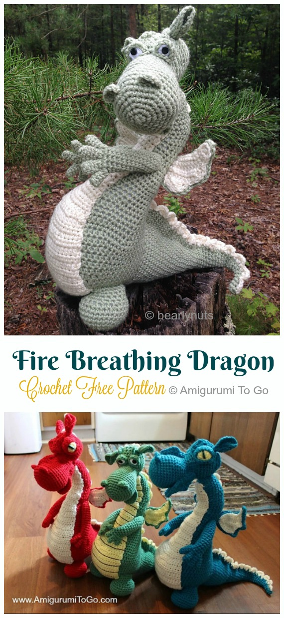 Crochet Fire Breathing Dragon Amigurumi Free Pattern - #Amigurumi; #Dragon; Free Crochet Patterns