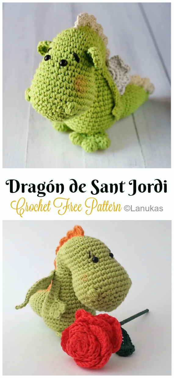 Crochet Dragón de Sant Jordi Amigurumi Free Pattern - #Amigurumi; #Dragon; Free Crochet Patterns