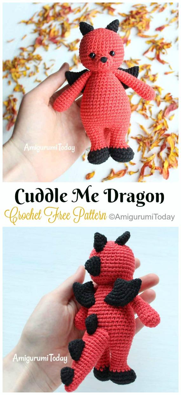 Crochet Cuddle Me Dragon Amigurumi Free Pattern - #Amigurumi; #Dragon; Free Crochet Patterns