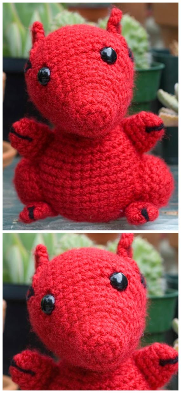 Crochet Red Dragon Amigurumi Free Pattern - #Amigurumi; #Dragon; Free Crochet Patterns