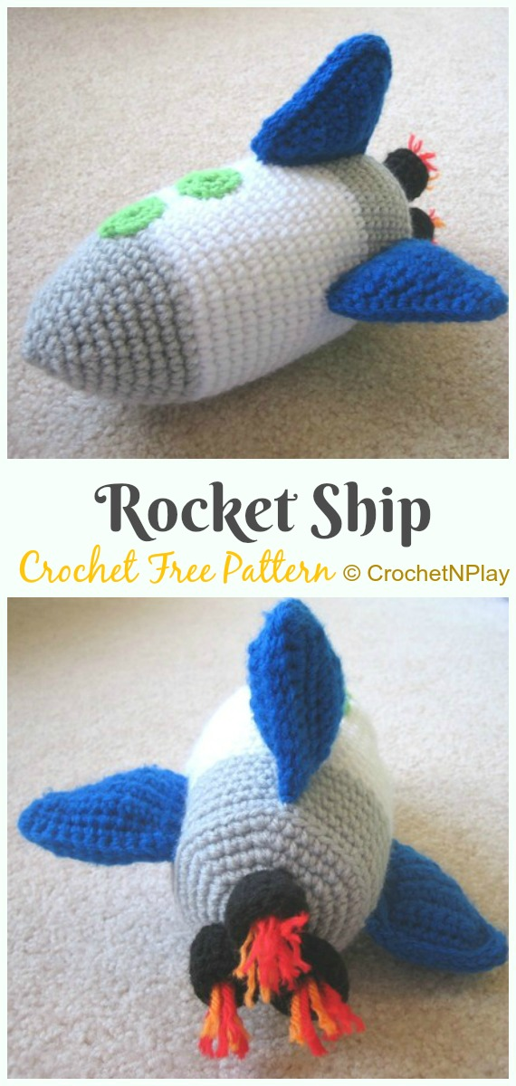 Crochet Rocket Ship Amigurumi Free Pattern - #Amigurumi; #Rocket;Toy Free Crochet Patterns