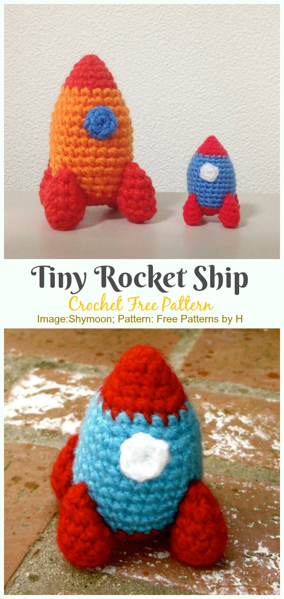 Crochet Tiny Rocket Ship Amigurumi Free Pattern - #Amigurumi; #Rocket;Toy Free Crochet Patterns