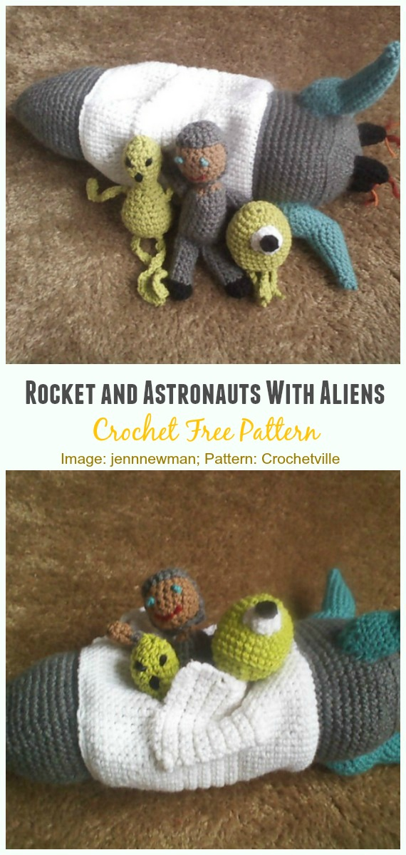 Crochet Rocket and Astronauts With Aliens Amigurumi Free Pattern - #Amigurumi; #Rocket;Toy Free Crochet Patterns