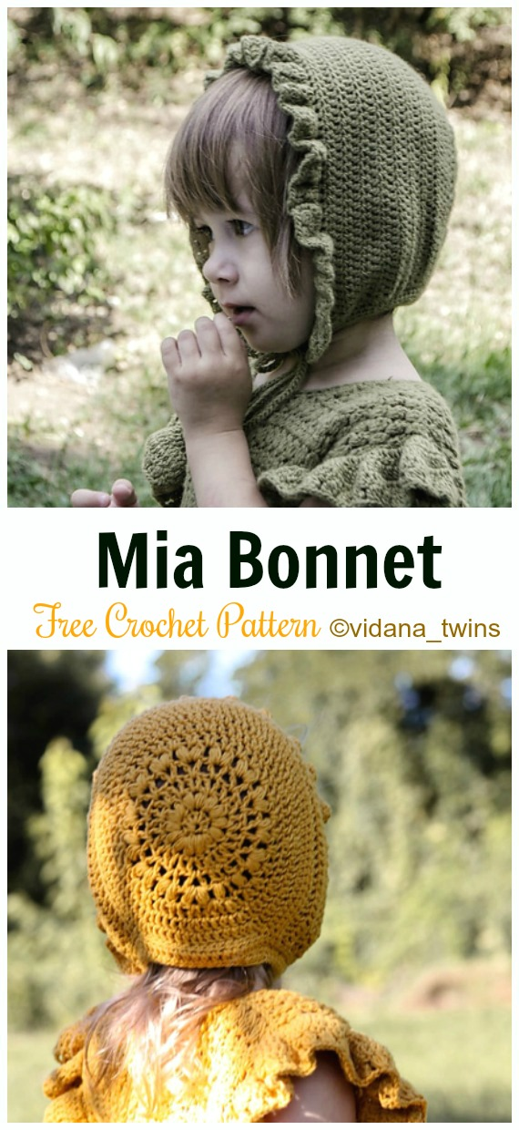 Baby Mia Bonnet Crochet Free Pattern - Baby #Bonnet; Free Crochet Patterns