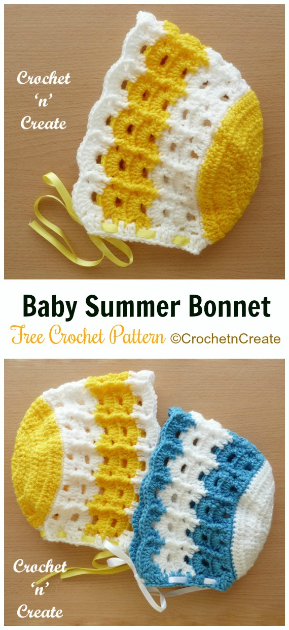 Baby Summer Bonnet Crochet Free Pattern - Baby #Bonnet; Free Crochet Patterns
