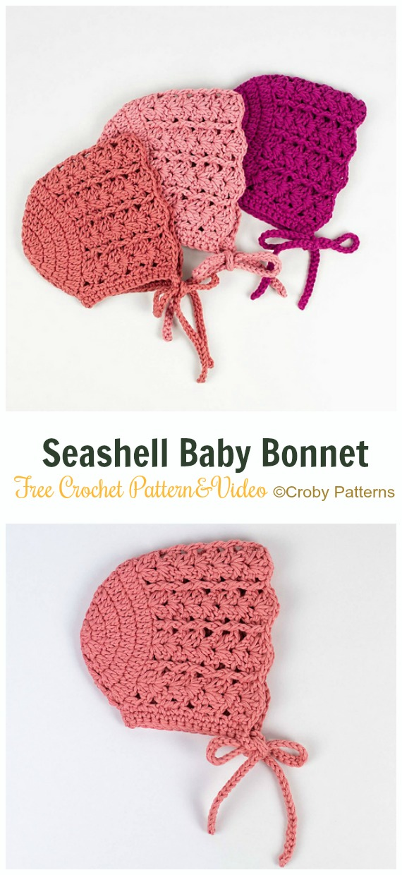 Baby Seashell Baby Bonnet Crochet Free Pattern&Video - Baby #Bonnet; Free Crochet Patterns