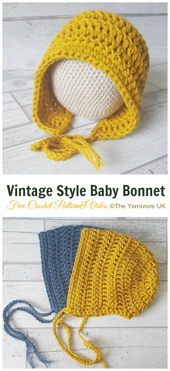 Vintage Style Baby Bonnet Crochet Free Pattern - Baby #Bonnet; Free Crochet Patterns