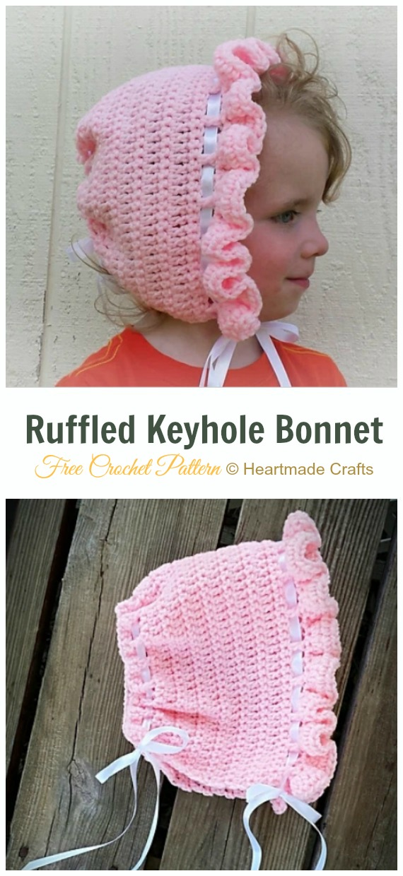 Baby Ruffled Keyhole Bonnet Crochet Free Pattern- Baby #Bonnet; Free Crochet Patterns