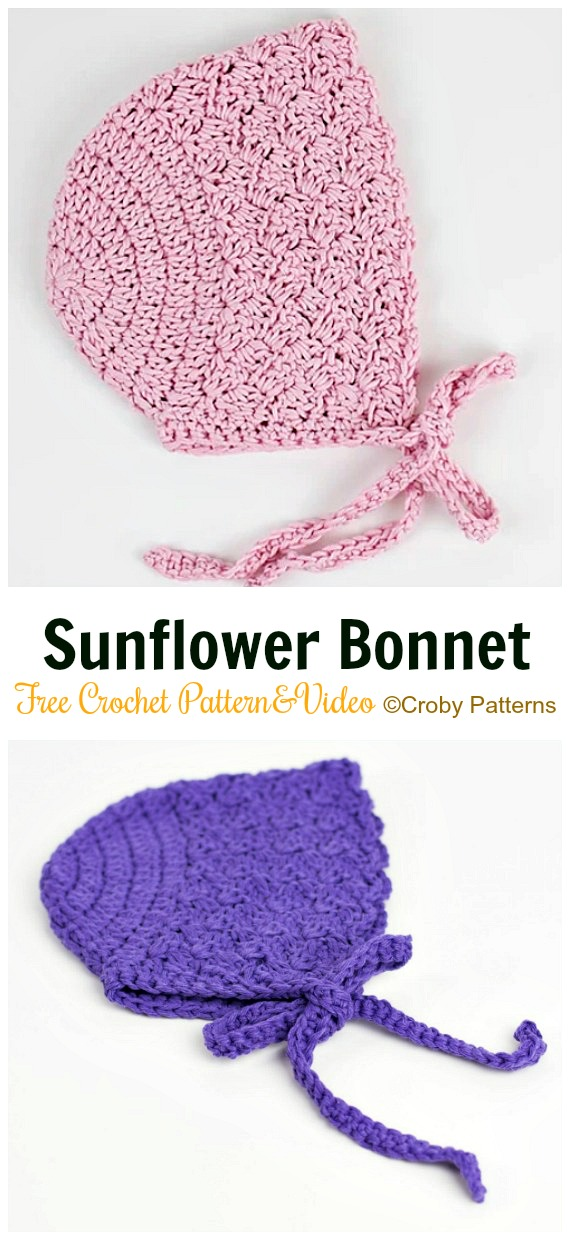 Baby Sunflower Bonnet Crochet Free Pattern&Video - Baby #Bonnet; Free Crochet Patterns