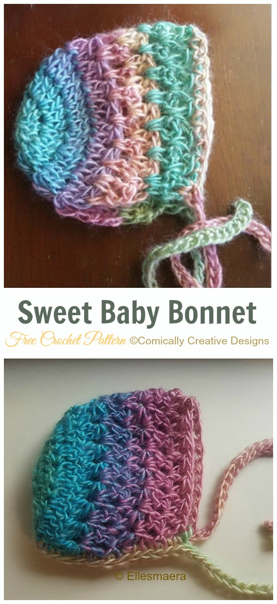 Sweet Baby Bonnet Crochet Free Pattern - Baby #Bonnet; Free Crochet Patterns