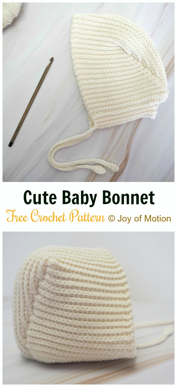 Cute Baby Bonnet Crochet Free Pattern - Baby #Bonnet; Free Crochet Patterns