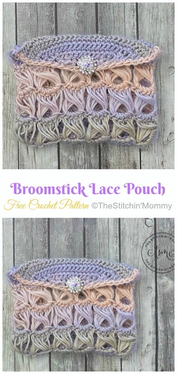 Broomstick Lace Pouch Crochet Free Pattern- #Crochet; #Clutch; Purse Free Patterns
