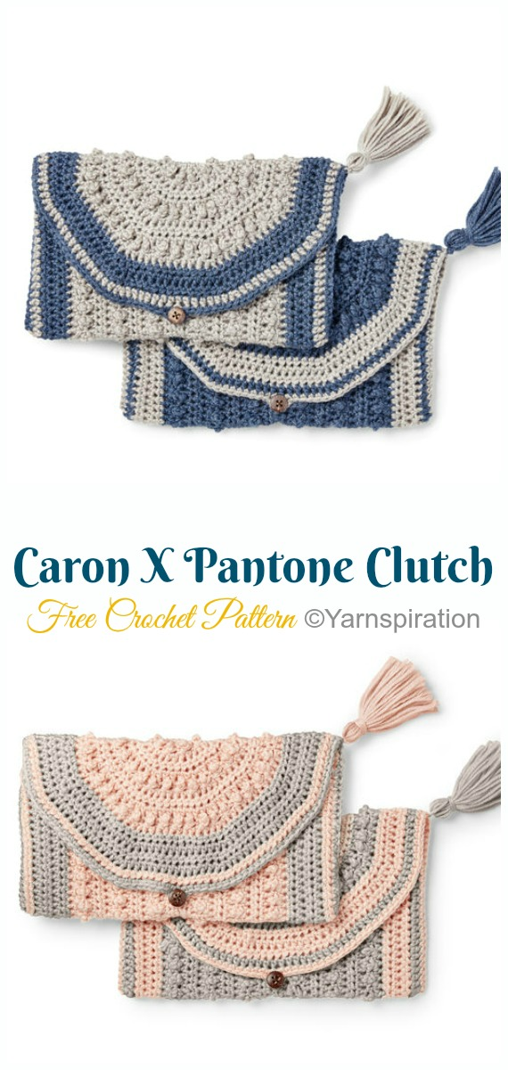 Caron X Pantone Clutch Crochet Free Pattern- #Crochet; #Clutch; Purse Free Patterns