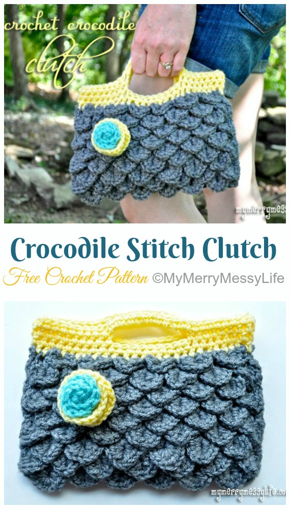 Crocodile Stitch Clutch Purse Crochet Free Pattern- #Crochet; #Clutch; Purse Free Patterns