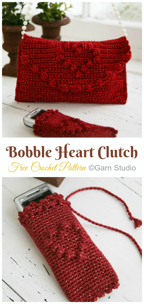 Bobble Heart Bag Crochet Free Pattern- #Crochet; #Clutch; Purse Free Patterns