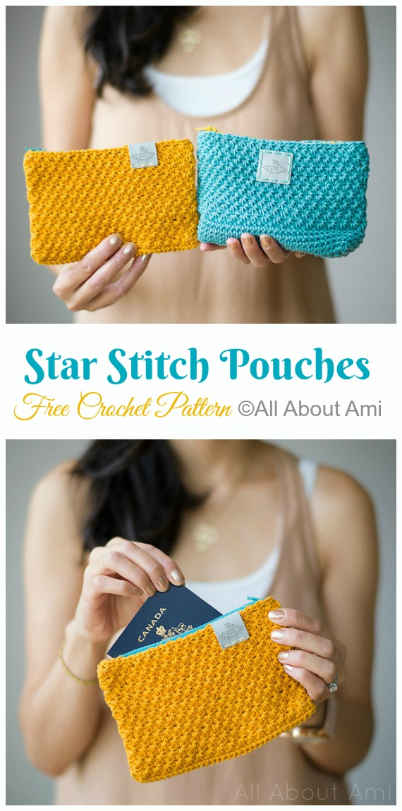 Star Stitch Pouches Crochet Free Pattern- #Crochet; #Clutch; Purse Free Patterns