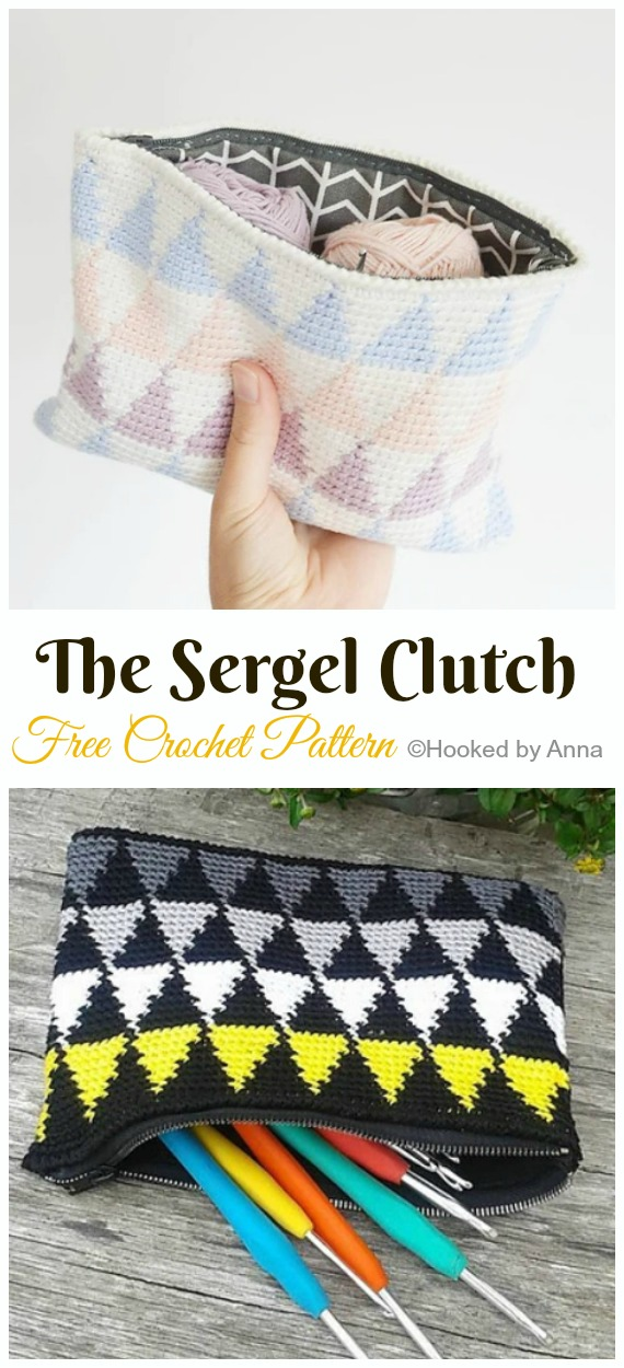 The Sergel Clutch Crochet Free Pattern- #Crochet; #Clutch; Purse Free Patterns