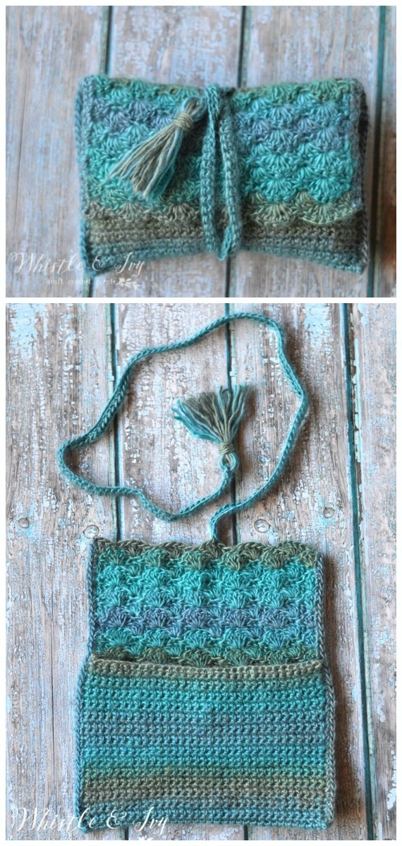 Tide Pool Wrap Clutch Crochet Free Pattern- #Crochet; #Clutch; Purse Free Patterns