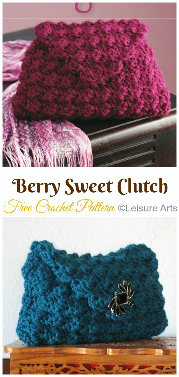 Berry Sweet Clutch Crochet Free Pattern- #Crochet; #Clutch; Purse Free Patterns