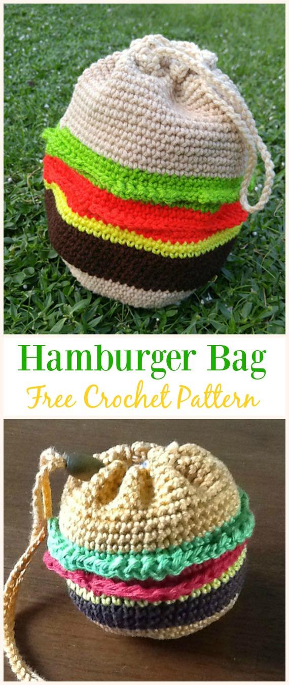 Hamburger Bag Free Crochet Pattern -#Crochet Drawstring #Bags Free Patterns
