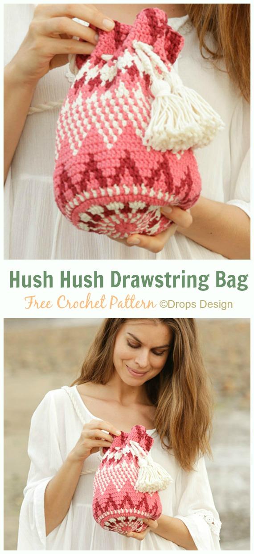 Hush Hush Zigzag Drawstring Bag Free Crochet Pattern -#Crochet Drawstring #Bags Free Patterns
