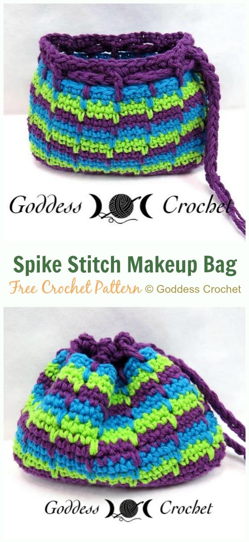 Spike Stitch Makeup Bag Free Crochet Pattern -#Crochet Drawstring #Bags Free Patterns