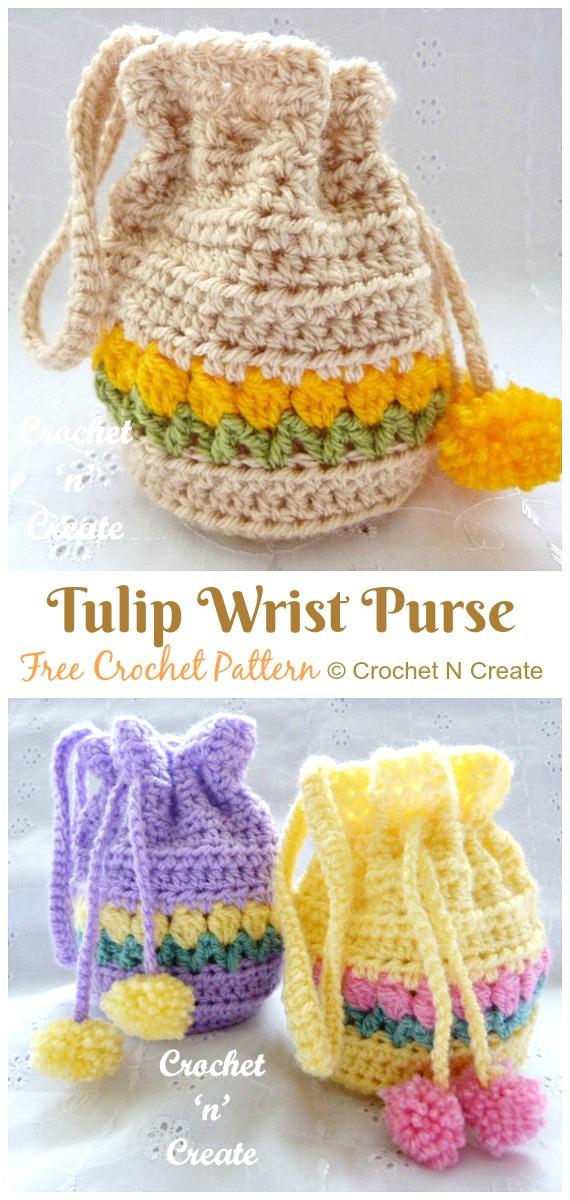 Tulip Wrist Purse Drawstring Bag Free Crochet Pattern -#Crochet Drawstring #Bags Free Patterns