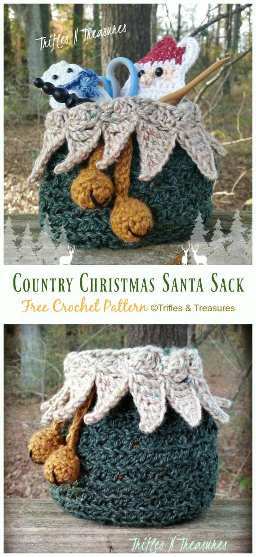 Country Christmas Santa Sack Free Crochet Pattern -#Crochet Drawstring #Bags Free Patterns