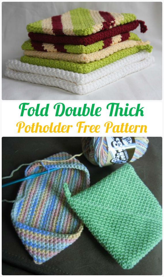 Fold Double Thick Potholder Crochet Free Pattern-  #PotHolder; Hotpad Crochet Free Patterns