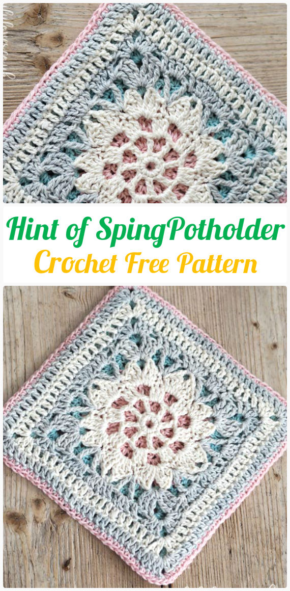 Hint of Spring Potholder Crochet Free Pattern-  #PotHolder; Hotpad Crochet Free Patterns