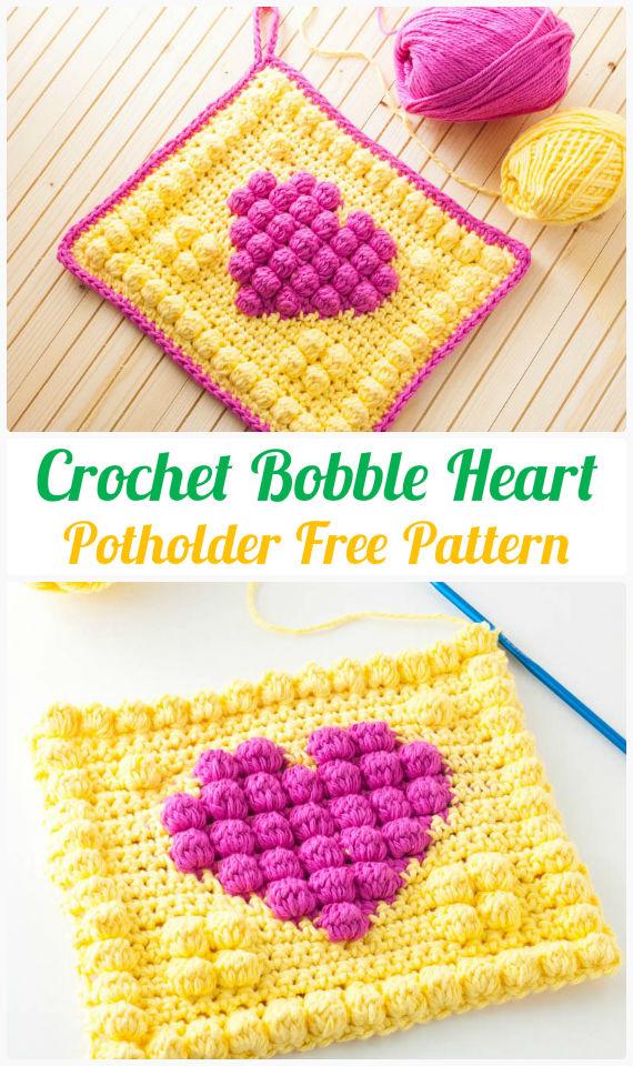 Bobble Heart Potholder Crochet FreePattern-  #PotHolder; Hotpad Crochet Free Patterns