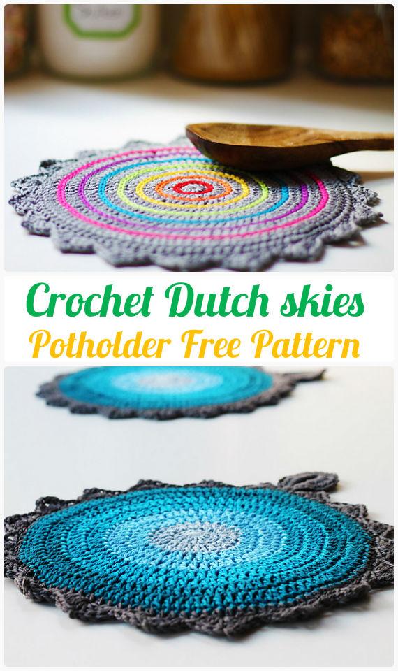 Dutch skies Potholder Crochet FreePattern-  #PotHolder; Hotpad Crochet Free Patterns