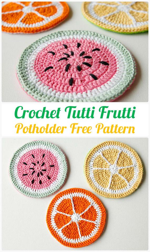 Fruit Potholder Crochet FreePattern-  #PotHolder; Hotpad Crochet Free Patterns